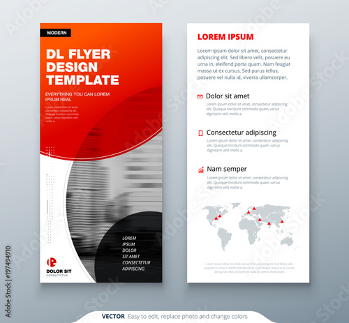 DL Flyer Design Red Business Template For Dl Flyer Layout With