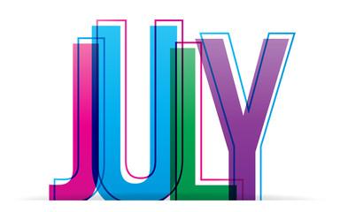 July sign. Vector illustration.