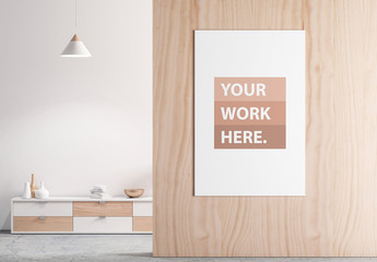 Vertical Poster Mockup on Wooden Wall with Contemporary Furniture
