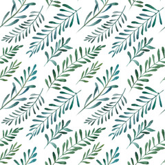 2d hand drawn watercolor seamless background. Colorful olives branches, leaves. Botanical elements. Pattern for textile, wrapping, branding, invitations isolated on white.