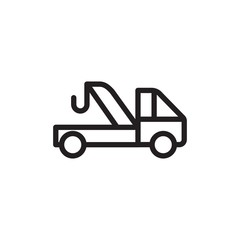 evacuation truck, evacuation service outlined vector icon. Modern simple isolated sign. Pixel perfect vector  illustration for logo, website, mobile app and other designs