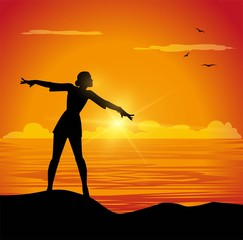 illustrazione vettoriale di ragazza a braccia aperte di fronte al mare