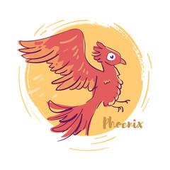 Phoenix. Red bird. Hand drawn.