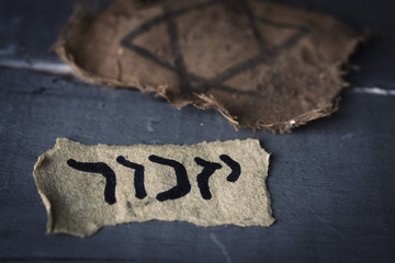 jewish badge and hebrew word yizkor, for remember
