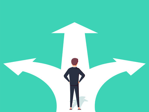 Business decision concept vector illustration. Businessman standing on the crossroads with two arrows and directions.