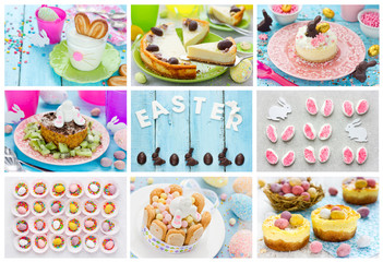 Food collage of Easter dessert and candy