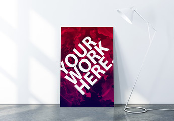 Vertical Canvas Poster  on Concrete Floor Mockup