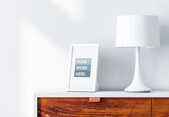 White Frame on Side Table Mockup