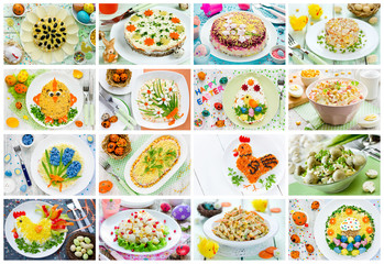 Food collage of Easter salad, snack and appetizer
