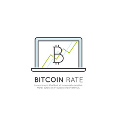 Vector Icon Style Illustration of Cryptocurrency as Alternative Digital Currency, Bitcoin Growth and Rates