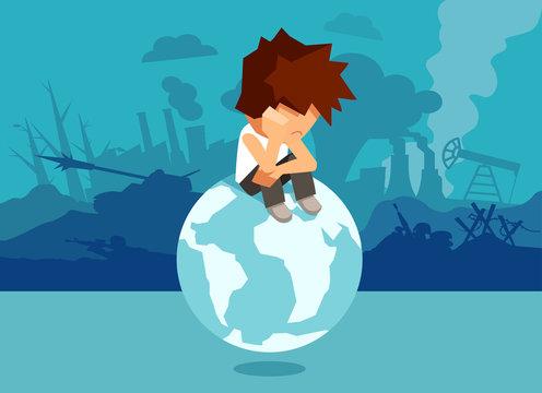 Sad man on globe with bad environment