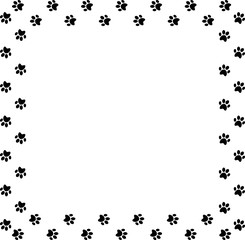Square frame made of black animal paw prints on white background.