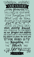 Hand lettering with Prayer of the Lord Our Father in heaven.