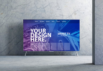 Smart TV Mockup with Marbled Interior