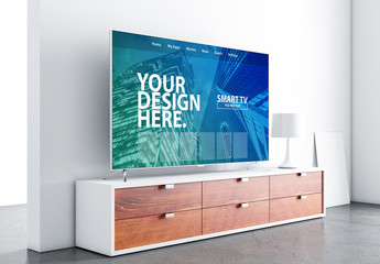 Side View Smart TV Mockup with Contemporary Furniture