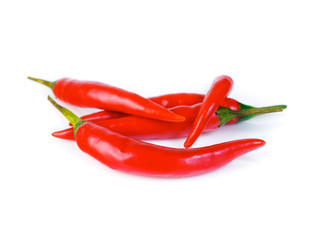 Red hot chili pepper on white background, side view
