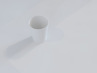 3d model of paper cups on the plane under natural light. White background. 3d renderer.