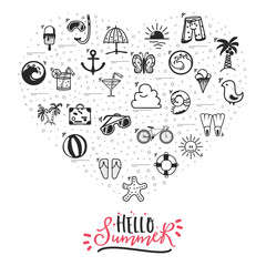 A set of summer icons. Hello summer banner from the icons located in the heart.