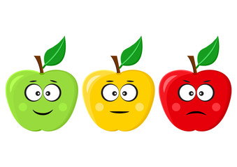 Green, yellow, red apples with positive, neutral and negative mood. Vector illustration