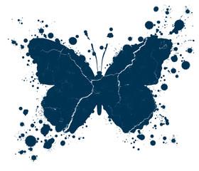 Foto auf AluDibond Schmetterlinge im Grunge Grunge butterfly shape and paint blobs splattered
