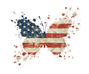 Photo sur Toile Papillons dans Grunge Butterfly shaped grunge vintage American US flag