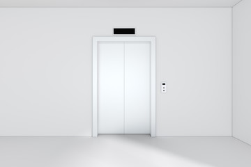 Modern elevator or lift doors made of metal closed in building with lighting. 3d rendering.