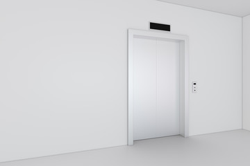 Modern elevator with closed doors. 3d rendering.