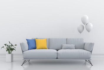 white interior living room with balloon. 3D render