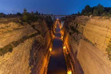 Corinth canal during the twilight