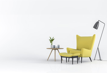 3D rendering of Studio furniture with armchair, lamp, plant, cup and decorations.