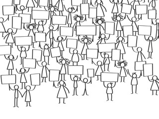 Vector illustration of protesting stick figures, holding up blank signs isolated on white background