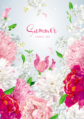Floral vector brochure cover design template