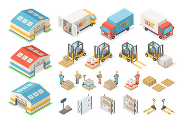 Isometric warehouse icon set, scheme, logistic concept Wall mural