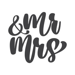 wedding words Mr. and Mrs. vector hand-written with pointed pen and ink and then autotraced traditional. Isolated on white background