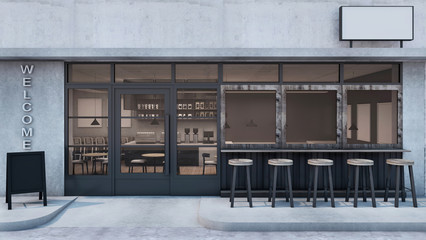 Front view Cafe shop Restaurant design Modern Loft black metal concrete wall front seat bar - 3D rendering