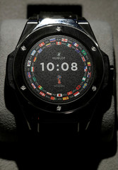 A Big Bang Referee 2018 FIFA World Cup Russia watch of Swiss watch manufacturer Hublot is displayed at the Baselworld watch and jewellery fair in Basel