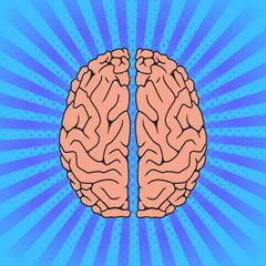 Comic Human brain. Pop Art vintage vector illustration