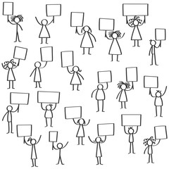 Vector illustration set of protesting black stick figures, holding up blank signs isolated on white background