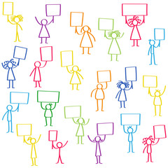 Vector illustration set of colorful protesting stick figures, holding up blank signs isolated on white background