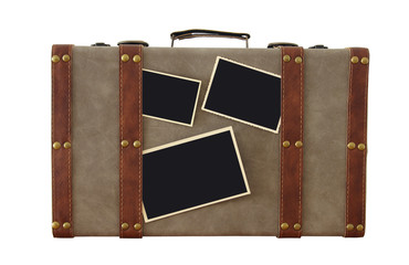 Image of old vintage luggage with blank photos for photography montage mockup isolated on white.