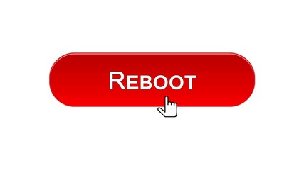 Reboot web interface button clicked with mouse cursor, red color, site design