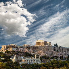 Printed kitchen splashbacks Athens Parthenon, Acropolis of Athens, Under Dramatic sky, Greece