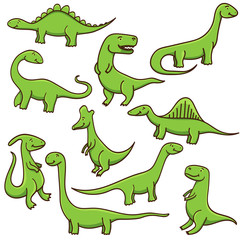 Cute cartoon dinosaurs set isolated on white background. Vector illustration