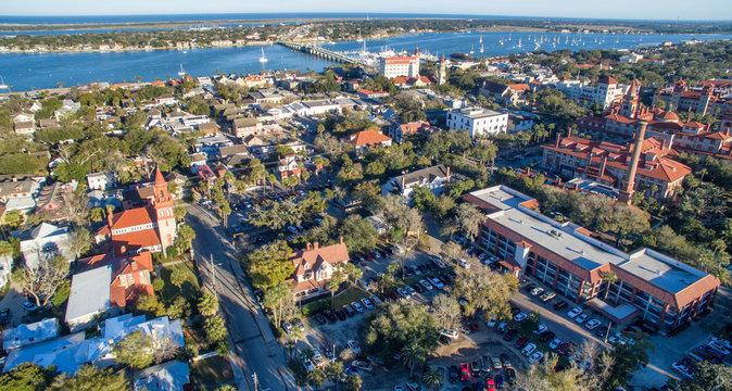 Aerial view of St Augustine skyline and bridge, Florida