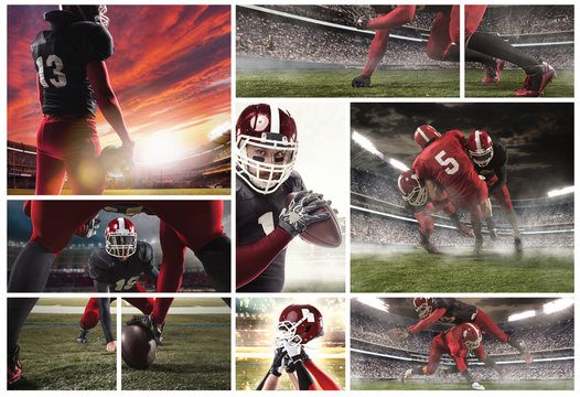 The collage about american football players