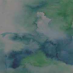 blue abstract watercolor background for textures. Hand drawn watercolor backdrop stain watercolors colors on wet paper