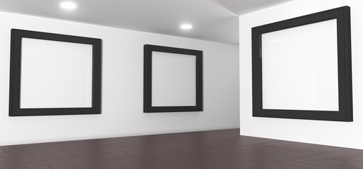 3D Rendering Of Realistic Gallery Room With Big Empty Picture Frames