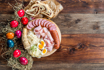 Photo sur Toile Buffet, Bar Brettljausn - Wurst und Käse Platte - Jause