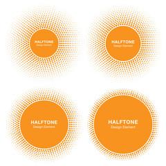 Wall Mural - Set of Sunny Circle Halftone Logo Design Elements. Sun vector icon. Sun halftone emblem for health, treatment, medical, cosmetic, pharm. Honey sun logo vector illustration