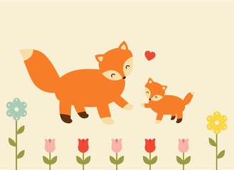 mother and baby fox  lovely soft pastel children illustration